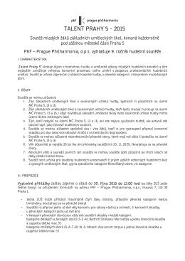Talent Prahy 5 2015 - podmínky a přihláška