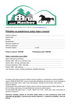 Přihláška na prázdninový pobyt nejen o koních - Bližanovy