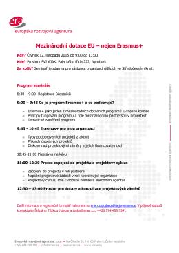 Mezinárodní dotace EU – nejen Erasmus+