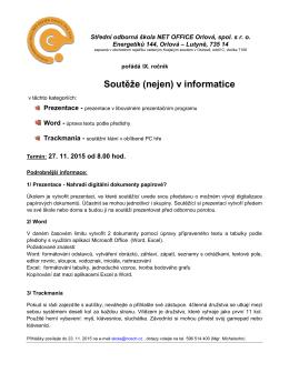 Soutěže (nejen) v informatice - Střední odborná škola NET OFFICE