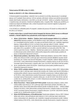 Tisková zpráva SÚS JMK ze dne 2.11.2015. Stavby na silnicích II. a
