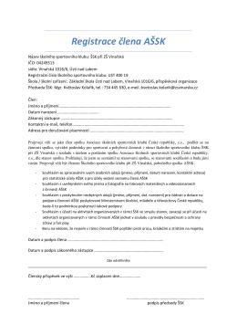 Registrace člena AŠSK - ZŠ Vinařská, Ústí nad Labem