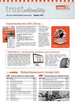 Přehled školení pro II. čtvrtletí 2015