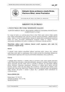 sm_47 Krizový plán školy - Základní škola Vlachovo Březí