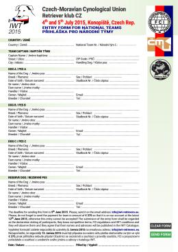 Přihláška pro národní týmy
