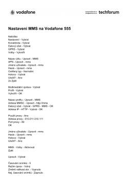 Nastavení MMS na Vodafone 555