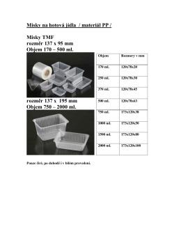 Misky na hotová jídla / materiál PP / Misky TMF