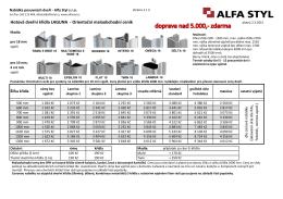Hotová dveřní křídla LAGUNA - Orientační maloobchodní ceník