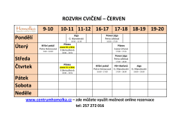 ROZVRH CVIČENÍ – ČERVEN 9-10 10-11 11-12 16-17 17-18 18