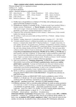 Zápis z 7. jednání Studentského parlamentu 4.3.2015