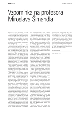 Vzpomínka na profesora Miroslava Šimandla