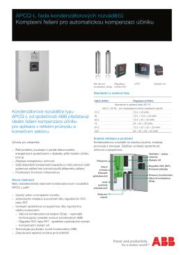 APCQ-L řada kondenzátorových rozváděčů Komplexní řešení