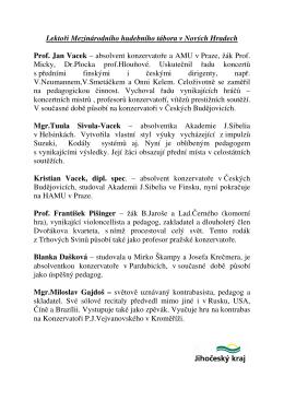 Lektoři Mezinárodního hudebního tábora v Nových Hradech Prof