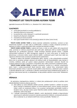 technický list tekutá guma alfema tg500