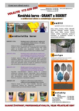 Popis barev Granit a Siderit