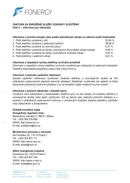 Faktura elektřina - informace k vyúčtování