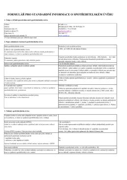 formulář pro standardní informace o spotřebitelském úvěru