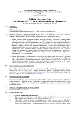 Informace o škole dle zákona č. 106/1999 Sb.