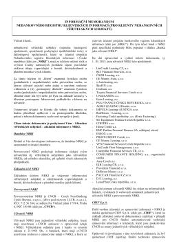 informační memorandum nebankovního registru