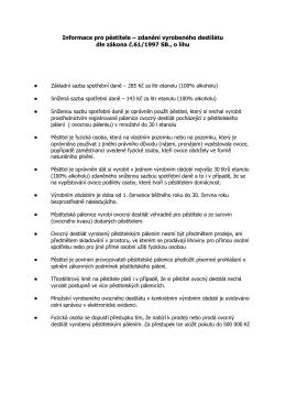 Informace pro pěstitele – zdanění vyrobeného destilátu dle zákona č