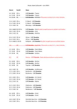 Rozpis zápasů přípravek – Jaro 20015 Datum Soutěž Zápas 4.4. 10