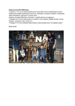 Kytarový kroužek DDM Kyjov V sobotu 17.10. se ve Veselí nad
