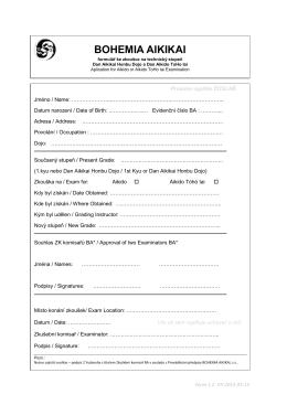 Zkouškový formulář na technické stupně Dan Aikikai Honbu Dojo