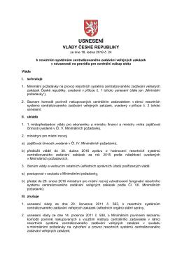 usnesení č. 24 k resortním systémům centralizovaného zadávání v