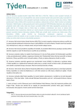 Týdenv české politice (27. 7. – 2. 8. 2015) Událost týdne