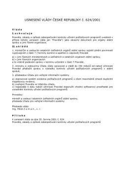 Usnesení vlády č. 624/2001