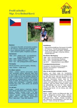 Profil učitelky: Mgr. Eva Bednaříková