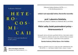 prof. Lubomíra Doležela, Fikční světy české postmoderní prózy