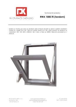 RWA 1000.TE (tandem) - PK otvírače oken s.r.o.