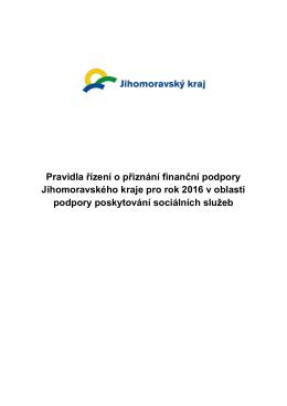 Pravidla řízení o přiznání finanční podpory Jihomoravského kraje