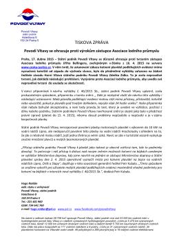 17.4.2015 Povodí Vltavy se ohrazuje proti výrokům zástupce
