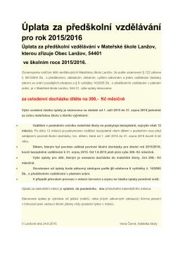 Úplata za předškolní vzdělávání pro rok 2015/2016