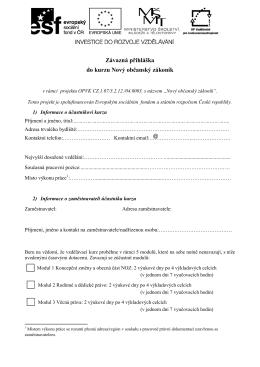 Závazná přihláška do kurzu Nový občanský zákoník