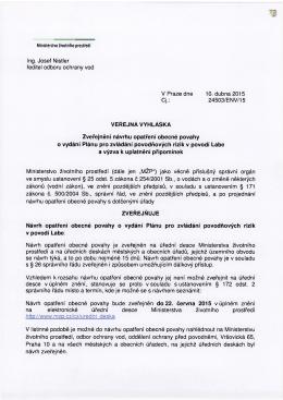 15.4.15-VV-zveř.návrhu opatření-Plán pro zvládání pov.rizik-Labe