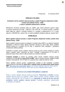 Veřejná vyhláška - zveřejnění návrhu OOP