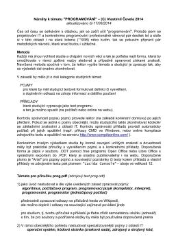 """Náměty k tématu """"PROGRAMOVÁNÍ"""" – (C) Vlastimil Čevela 2014"""