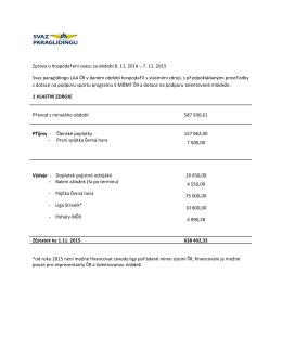 Zpráva o hospodaření svazu za období 8. 11. 2014 – 7