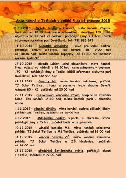 Akce konané v Tetčicích v období říjen až prosinec 2015