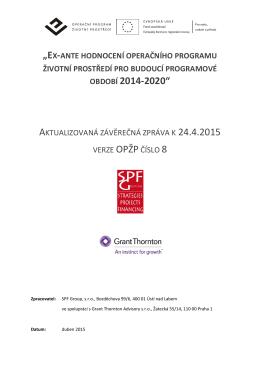 Ex-ante hodnocení OPŽP pro budoucí programové období 2014-2020