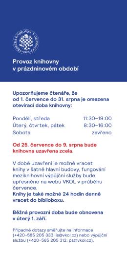 Provoz knihovny v prázdninovém období