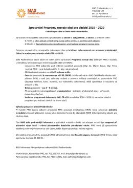 Zpracování Programu rozvoje obcí pro období 2015