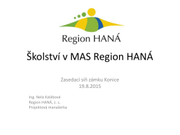 Školství v MAS Region HANÁ.