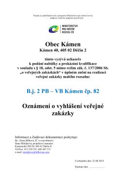 Vyhlášení výběrového řízení B.j. 2 PB