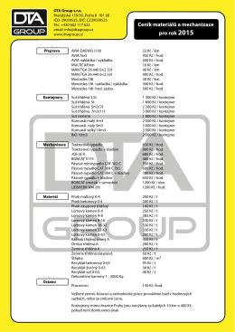 Ceník materiálů a mechanizace pro rok 2015