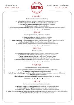 týdenní menu polévka & hlavní chod pondělí