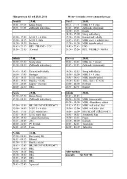 Plán provozu ZS od 25.01.2016 Pondělí 25.01. Úterý 26.01. 06:15